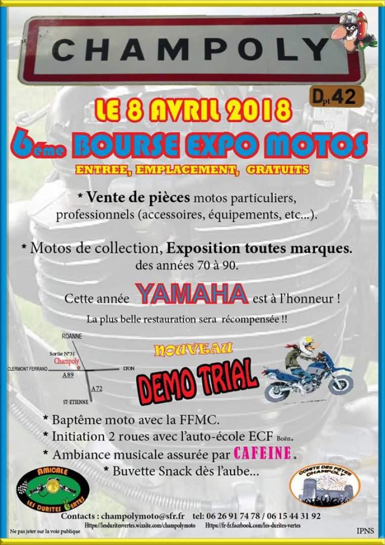 Bourse  Expo Moto Champoly (près de Roanne, 42), Dimanche 8 avril  2018